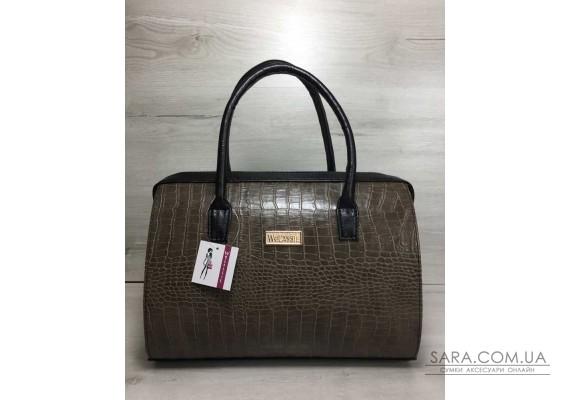 Каркасна жіноча сумка Саквояж кавовий крокодил з чорними ручками WeLassie
