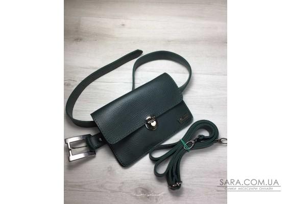 Жіноча сумка на пояс - клатч Арья зеленого кольору WeLassie
