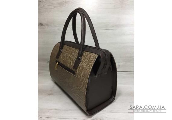 Каркасна жіноча сумка Саквояж коричнева рептилія з коричневими ручками WeLassie