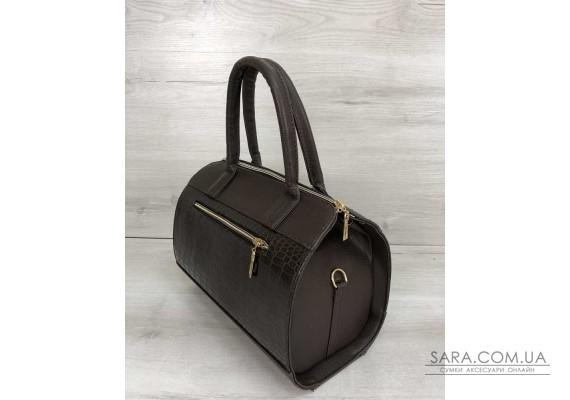 Жіноча сумка Маленький Саквояж коричневого кольору зі вставкою коричневий крокодил WeLassie