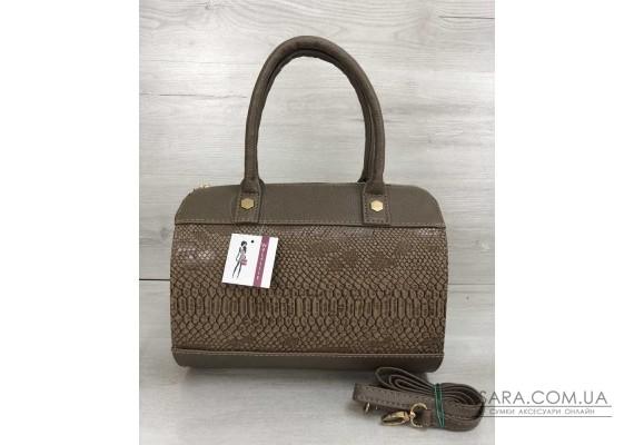 Жіноча сумка Маленький Саквояж кавового кольору зі вставкою кавова рептилія WeLassie