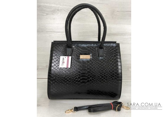 Жіноча сумка Бочонок чорна кобра WeLassie