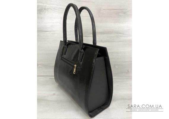 Жіноча сумка Бочонок чорний лак WeLassie