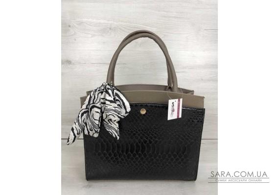 Класична жіноча сумка Бьянка кавового кольору зі вставкою чорна кобра WeLassie