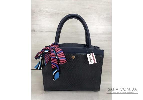 Класична жіноча сумка Бьянка синього кольору зі вставкою синя кобра WeLassie