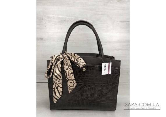 Класична жіноча сумка Бьянка коричневого кольору зі вставкою коричневий крокодил WeLassie