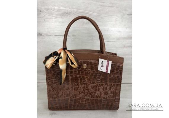 Класична жіноча сумка Бьянка рудого кольору зі вставкою рудий крокодил WeLassie