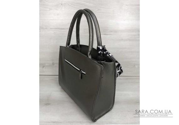 Класична жіноча сумка Бьянка кольору металік зі вставкою сірий лаковий крокодил WeLassie