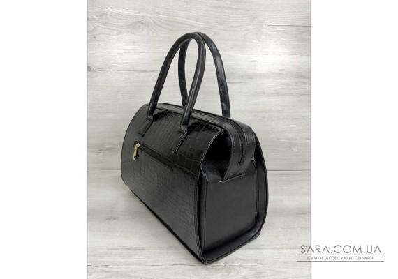 Каркасна жіноча сумка Саквояж чорний лаковий крокодил WeLassie