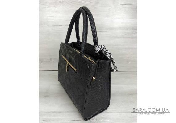 Класична жіноча сумка Бьянка чорна рептилія WeLassie