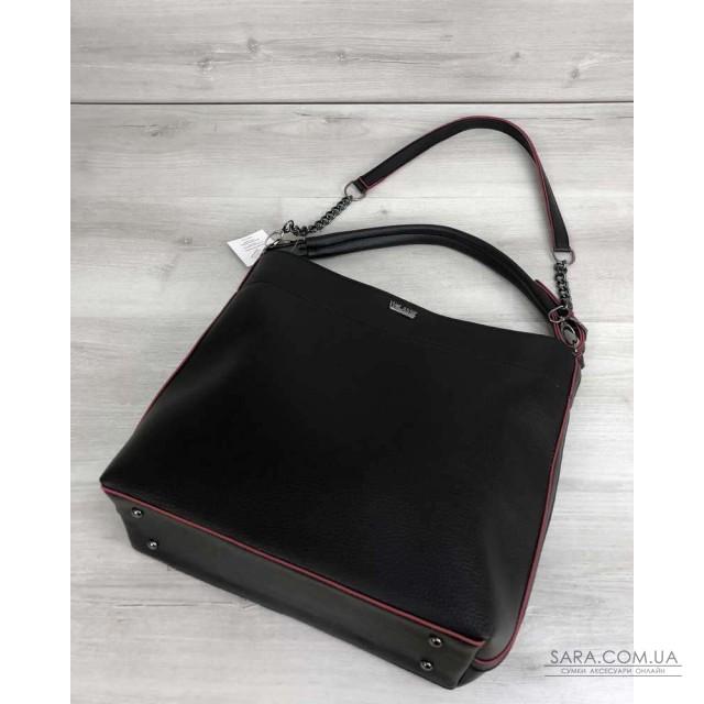 Сумка - ланцюжок чорного з червоним кольору (нікель) WeLassie дешево
