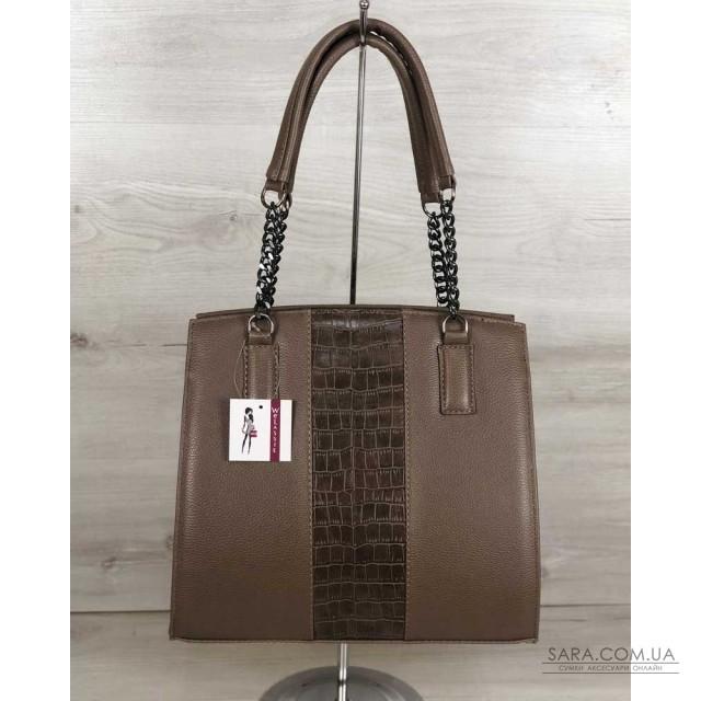 7d34bd885be3 Каркасная женская сумка Адела кофейного цвета со вставкой кофейный крокодил  WeLassie дешево