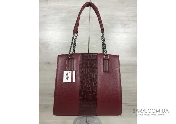 Каркасна жіноча сумка Адель бордового кольору зі вставкою бордовий крокодил WeLassie