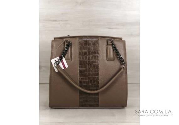 Каркасна жіноча сумка Адель кавового кольору зі вставкою кавовий крокодил WeLassie