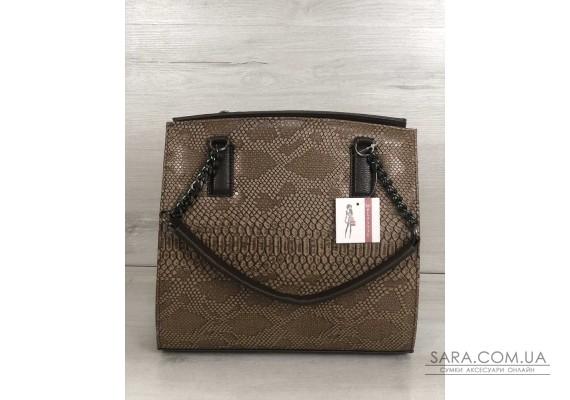 Каркасна жіноча сумка Адель коричневого кольору зі кавова рептилія WeLassie
