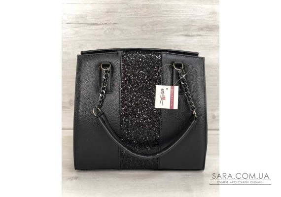 Каркасна жіноча сумка Адель чорного кольору зі вставкою чорний блиск WeLassie