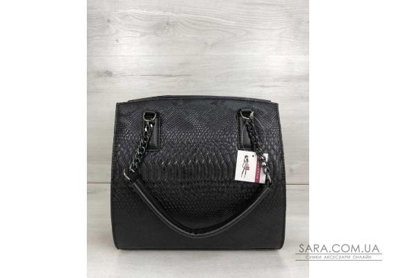 Каркасна жіноча сумка Адель чорного кольору зі вставкою чорна рептилія WeLassie
