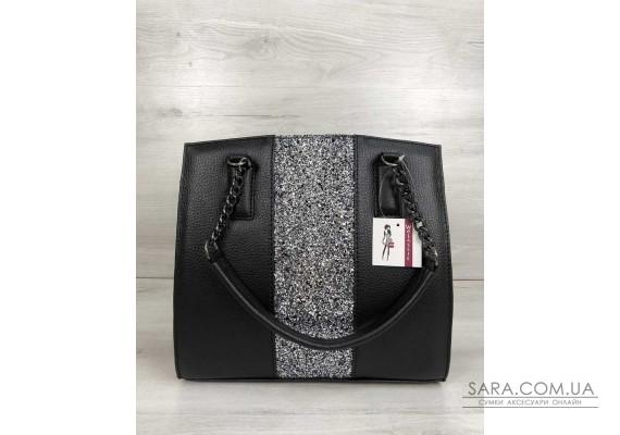 Каркасна жіноча сумка Адель чорного кольору зі вставкою блиск WeLassie