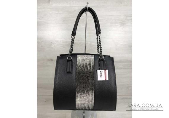 Каркасна жіноча сумка Адель чорного кольору зі вставкою сірий лак WeLassie