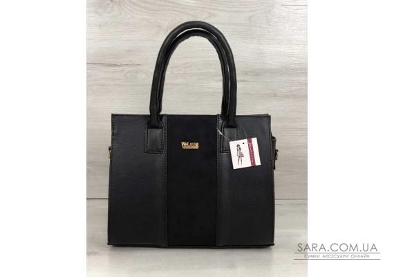 Каркасна жіноча сумка Селін чорного кольору зі вставкою чорний замш WeLassie