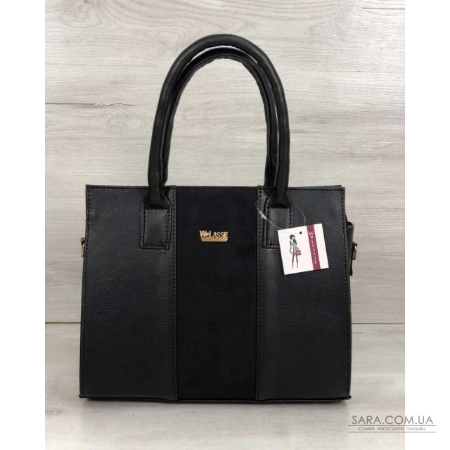 25dc9e139f34 Каркасная женская сумка Селин черного цвета со вставкой черный замш  WeLassie дешево
