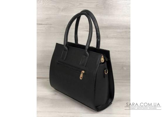 Каркасна жіноча сумка Селін чорного кольору зі вставками чорний крокодил WeLassie