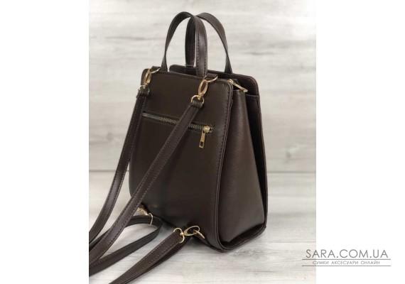 Молодіжний каркасний сумка-рюкзак коричневого кольору зі вставкою коричневий крокодил WeLassie
