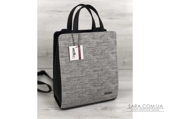 Молодіжний каркасний сумка-рюкзак чорного кольору зі вставкою сірий WeLassie