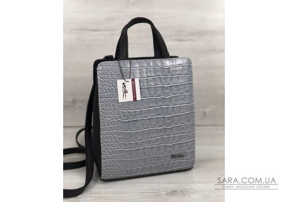 Молодіжний каркасний сумка-рюкзак чорного кольору зі вставкою сірий крокодил WeLassie