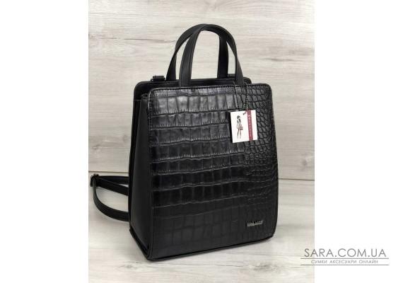 Молодіжний каркасний сумка-рюкзак чорного кольору зі вставкою чорний крокодил WeLassie