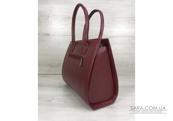 Жіноча сумка Бочонок бордового кольору зі вставкою бордовий крокодил WeLassie