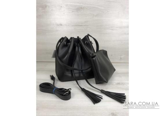 Молодіжна сумка з еко-шкіри Люверс чорного кольору (нікель) WeLassie