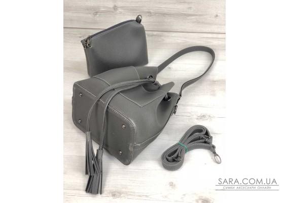 Молодіжна сумка з еко-шкіри Люверс сірого кольору (нікель) WeLassie