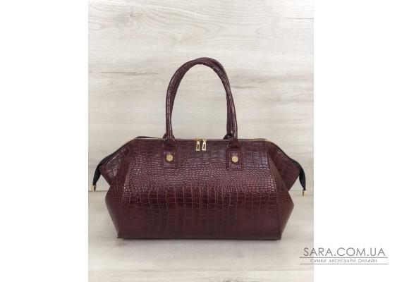 Класична жіноча сумка Олівія бордовий крокодил WeLassie