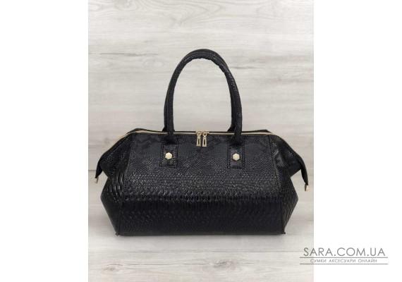 Класична жіноча сумка Олівія чорна рептилія WeLassie