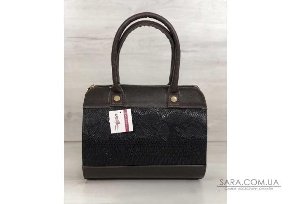 Жіноча сумка Маленький Саквояж коричневого кольору зі вставкою коричнева рептилія WeLassie