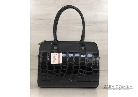 Жіноча сумка Маленький Саквояж чорний лаковий крокодил WeLassie
