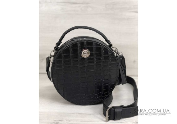 Стильна жіноча сумка Бріджит чорного кольору зі вставкою чорний крокодил WeLassie