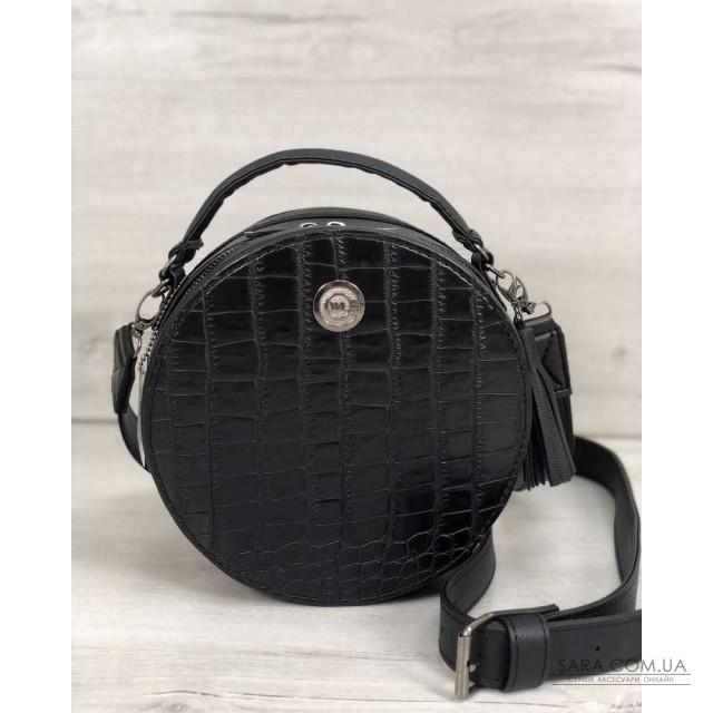 Стильна жіноча сумка Бріджит чорного кольору зі вставкою чорний крокодил WeLassie дешево