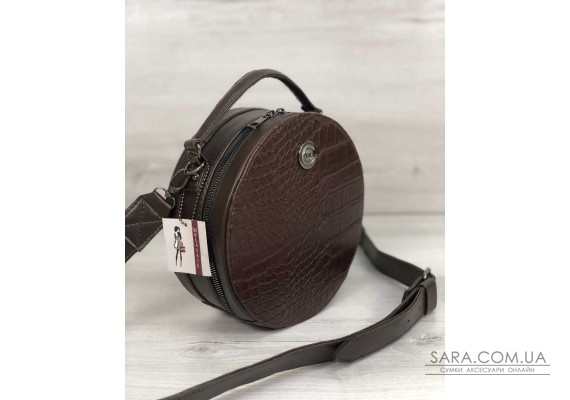 Стильна жіноча сумка Бріджит коричневого кольору зі вставкою коричневий крокодил WeLassie