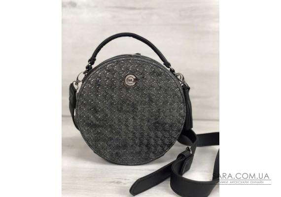 Стильна жіноча сумка Бріджит чорного кольору зі вставкою срібло WeLassie