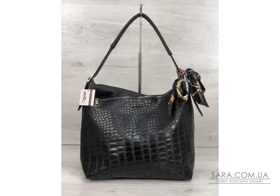 Жіноча сумка Нея чорного кольору зі вставкою чорний крокодил WeLassie
