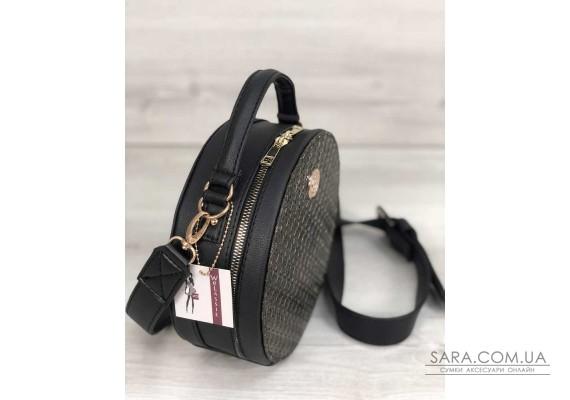 Стильна жіноча сумка Бріджит чорного кольору зі вставкою золото WeLassie