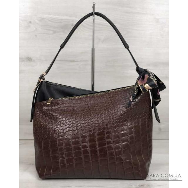 Жіноча сумка Нея чорного кольору зі вставкою коричневий крокодил WeLassie дешево