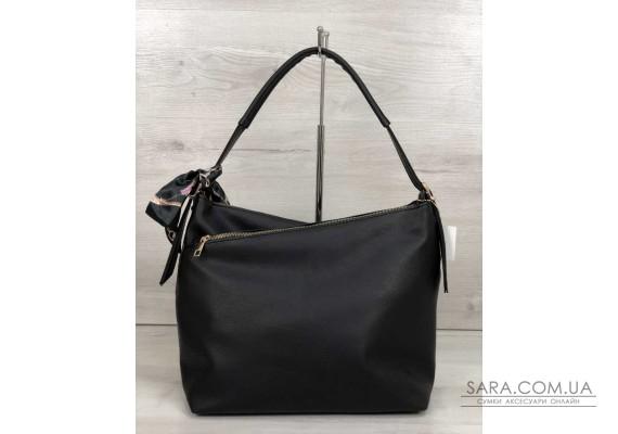 Жіноча сумка Нея чорного кольору зі вставкою коричневий крокодил WeLassie