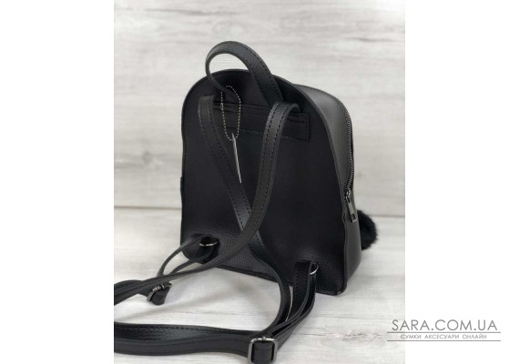 Рюкзак молодіжний Бонні з пушком чорного кольору WeLassie