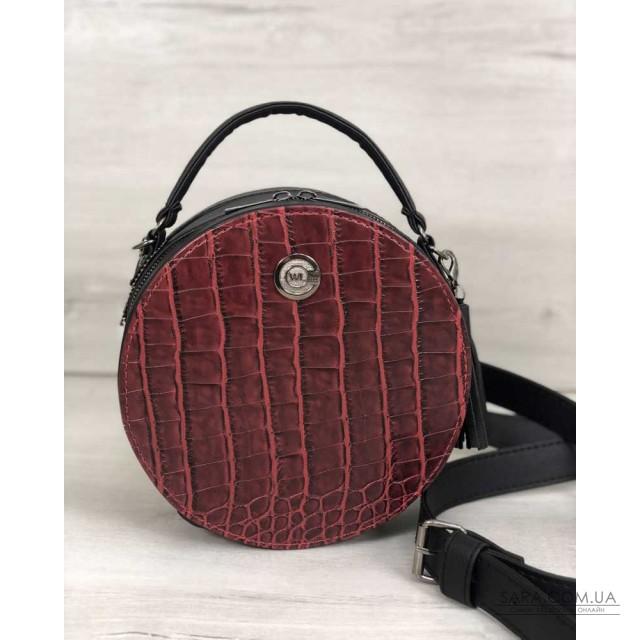 Стильна жіноча сумка Бріджит чорного кольору зі вставкою червоний крокодил WeLassie дешево