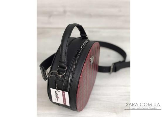 Стильна жіноча сумка Бріджит чорного кольору зі вставкою червоний крокодил WeLassie