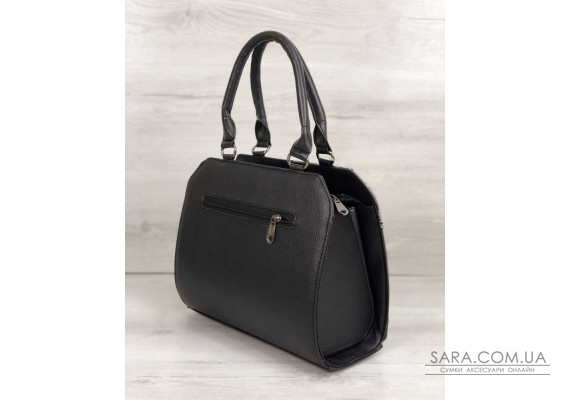 Жіноча сумка Конверт чорного кольору зі вставкою срібло WeLassie