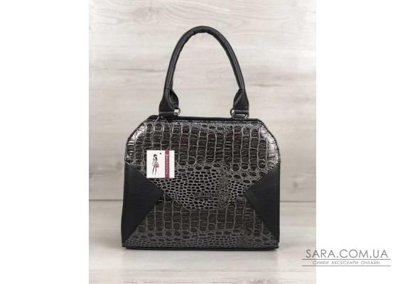 Жіноча сумка Конверт чорного кольору зі вставкою сірий лаковий крокодил WeLassie